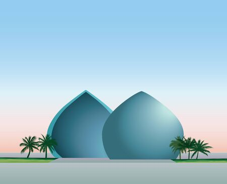 bulding: Cityscape of Baghdad, capital of Iraq. Travel famous places in Western Asia city. Al-Shaheed monument view. Vector illustration