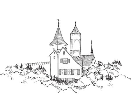 Travel Germany Background. Castle building on the hill skyline etching. Hand drawn sketch vector illustration. Vintage touristic postcard, Çizim