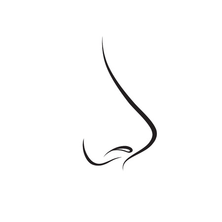 Nose isolated. Human nose icon. Vector engraving illustration on white background for graphic and web design. Stock Illustratie