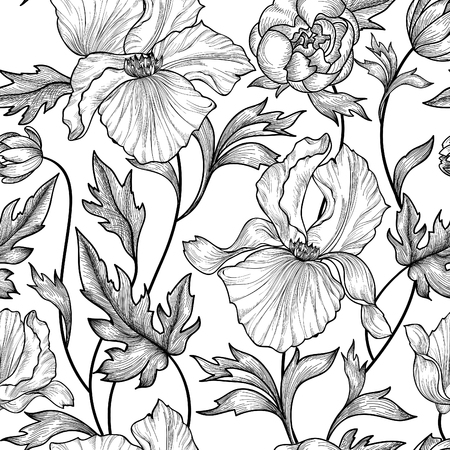 pencil drawing: Floral seamless etching pattern. Flower background. Floral seamless texture with flowers. Flourish tiled wallpaper Illustration