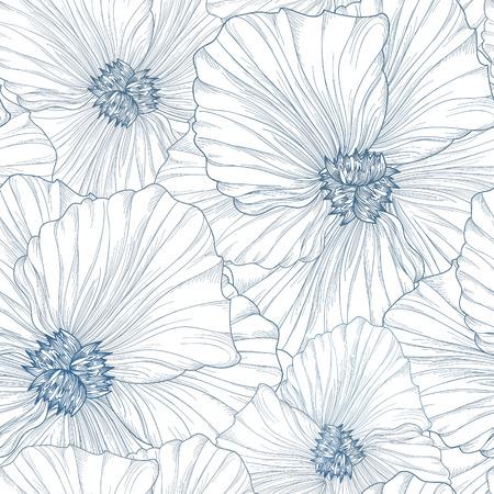 Patrón floral sin fisuras. Fondo de flores. Textura floral sin fisuras con flores. Florecer el papel pintado de baldosas Ilustración de vector
