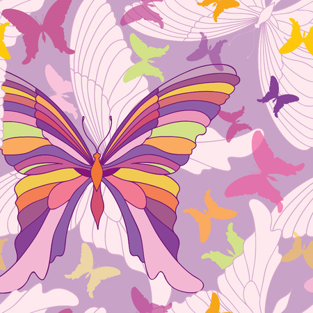 popart: Butterfly seamless pattern. happy summer party background in pop-art 1960s style