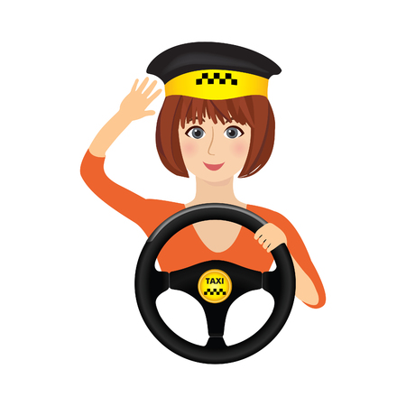 drive car: Taxi driver girl holding wheel. Concept background banner for order a taxi. Cartoon illustration of the trip in a taxi. Illustration