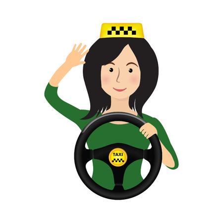 Chauffeur de taxi fille tenant la roue. Concept fond bannière pour commander un taxi. Cartoon illustration du voyage dans un taxi.