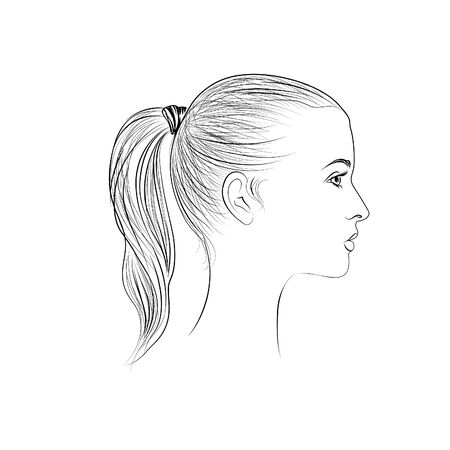 cameo: Girl avatar. People profile. Woman silhouette. Portrait Illustration
