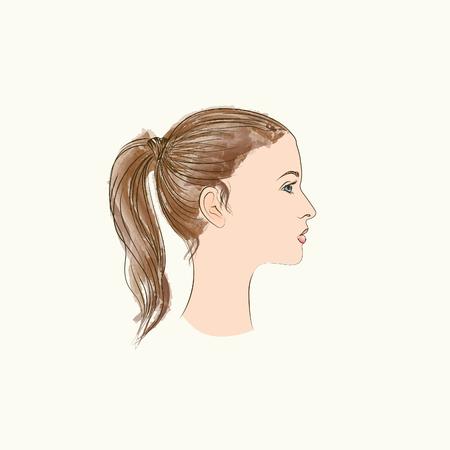 profiles: Girl Portrait. Female profile. Woman silhouette.