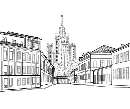 stalin: Moscow city street view with famous Stalin skyscraper building on background. Moscow cityscape. Travel Russia engraving skyline