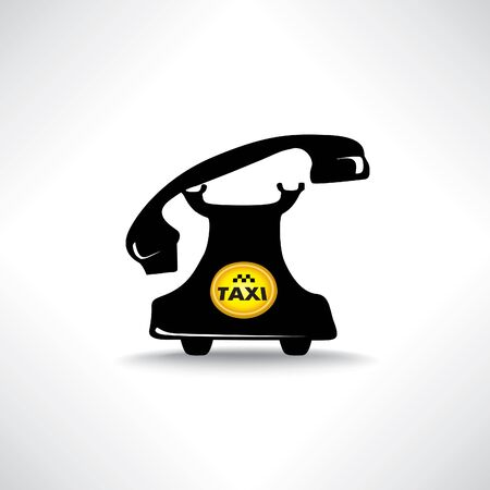 nav: Taxi sign. Call taxi icon. Retro phone with circle taxi emblem Illustration