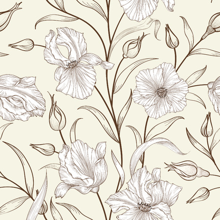 Floral seamless pattern. Flower swirl background. Floral ornamen 矢量图像
