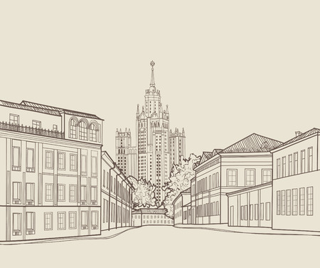 kremlin: Moscow city street view with famous Stalin skyscraper building on background. Moscow cityscape. Travel Russia engraving skyline