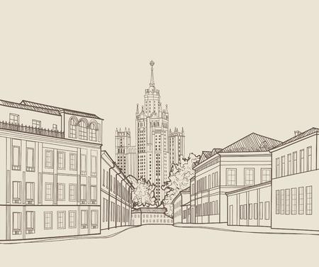 Moskau Stadt Blick auf die Straße mit berühmten Stalin Wolkenkratzer Gebäude im Hintergrund. Moskau Stadtbild. Reisen Russland Gravur Skyline Vektorgrafik