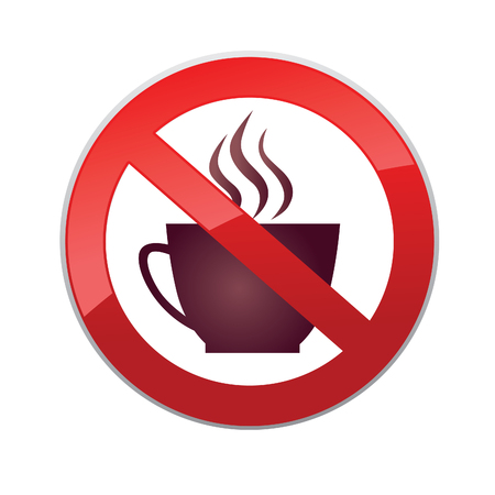 coffee icon: Drinks are not allowed. No coffee cup icon. Hot drinks symbol. Take away or take-out tea beverage sign.