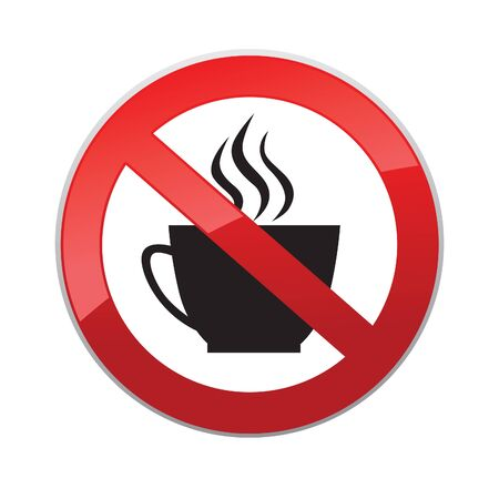no symbol: Drinks are not allowed. No coffee cup icon. Hot drinks symbol. Take away or take-out tea beverage sign.