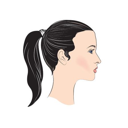 visage profil: Fille avatar. profil de personnes. Silhouette femme. Portrait Illustration