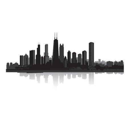 city background: City silhouette. Vector cityscape Panorama city background. Skyline urban border.