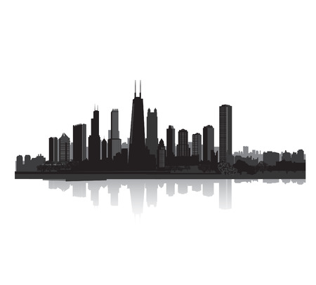 City silhouette. Vector cityscape Panorama city background. Skyline urban border.