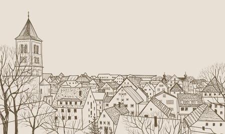 pencil drawn: Street cafe in old city. Cityscape - houses, buildings and tree on alleyway. Old city view. Medieval european castle landscape. Pencil drawn editable vector sketch