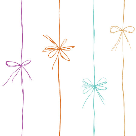 Bow seamless pattern. Bow ribbon line decor. Gift bow decoration