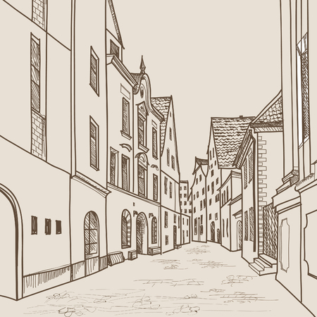provincial: Steet with cafe and shops  in old city. Cityscape - buildings, trees, church, houses. European city skyline. German city view