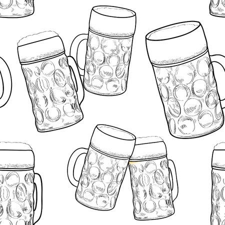 beer fest: Beer seamless pattern. Ornamental background with beer mug. Beer glass sketch. Octoberfest beer fest pattern