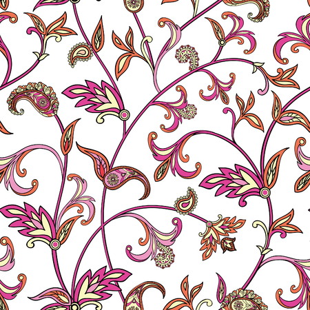 oriental pattern: Floral pattern Flourish tiled oriental ethnic background. Arabic ornament with fantastic flowers and leaves. Wonderland motives of the paintings of ancient Indian fabric patterns.