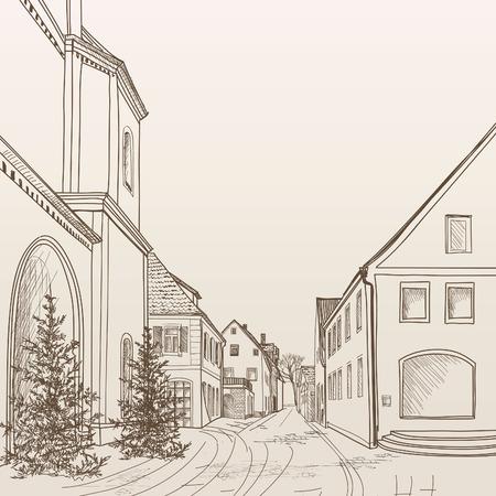 Koffie van de straat in de oude stad. Cityscape - huizen, gebouwen en de boom op steegje. Oude stad. Middeleeuwse Europese kasteel landschap. Potlood getrokken bewerkbare vector schets