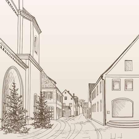 Street cafe in old city. Cityscape - houses, buildings and tree on alleyway. Old city view. Medieval european castle landscape. Pencil drawn editable vector sketch