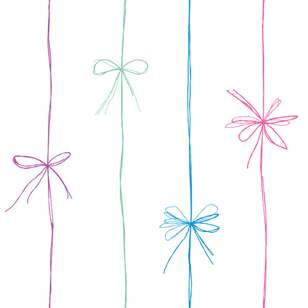 stubble: Bow seamless pattern. Bow ribbon line decor. Gift bow decoration