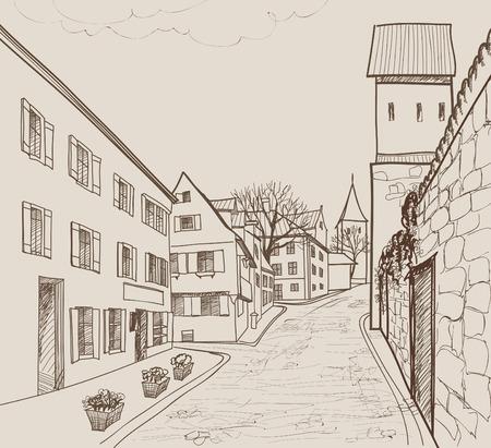 Straßencafe in der alten Stadt. Stadtbild - Häuser, Gebäude und Baum auf Gasse. Blick auf die Altstadt. Mittelalterliche europäische Burgenlandschaft. Bleistift gezeichnet editierbare Vektor-Skizze