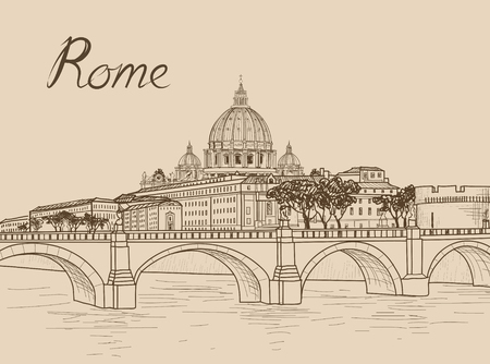 Rome cityscape with St. Peters Basilica. Italian city famous landmark cathedral skyline. Travel Italy engraving. Rome architectural city background with lettering