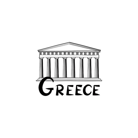 acropolis: Greece sign. Greek famous landmark temple. Travel Greece label. Greek architectural icon with  lettering