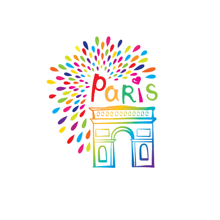 french label: Paris sign. French famous landmark Arc de Triomphe. Travel France label. Paris architectural icon with lettering Illustration