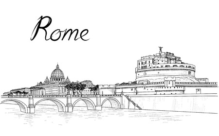 Rome cityscape with St. Peter's Basilica. Italian city famous landmark Castel Sant'Angelo skyline. Travel Italy engraving. Rome architectural city background with lettering Vettoriali