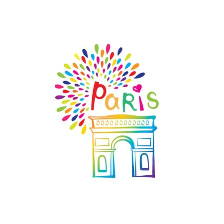 Paris sign. French famous landmark Arc de Triomphe. Travel France label. Paris architectural icon with lettering Illustration