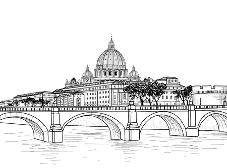 Rome cityscape with St. Peter's Basilica. Italian city famous landmark skyline. Travel Italy engraving. Rome architectural city background Ilustração