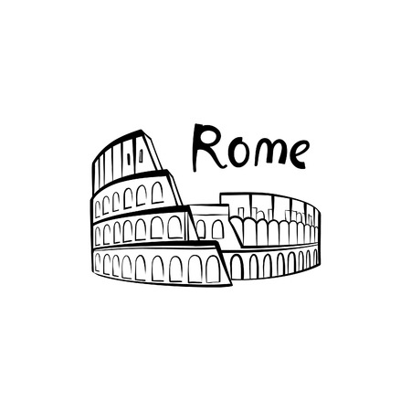 colloseum: Rome Colosseum sign. Italian famous landmark Coliseum. Travel Italy label. Rome architectural icon with lettering Illustration