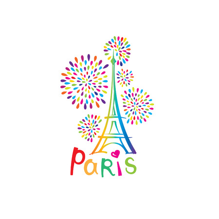 french label: Paris sign. French famous landmark Eiffel tower. Travel France label. Paris architectural icon with lettering