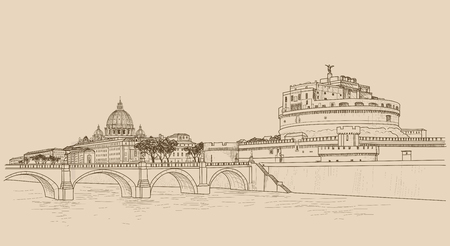basilica: Rome cityscape with St. Peters Basilica. Italian city famous landmark Castel SantAngelo skyline. Travel Italy engraving. Rome architectural city background with lettering