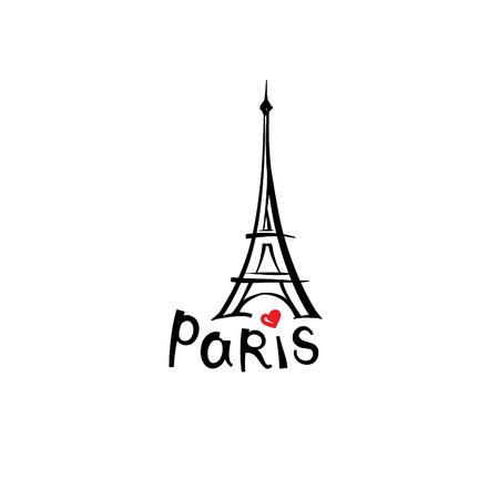 パリの標識です。フランスの有名なランドマーク エッフェル塔。旅行フランスのラベル。レタリングとパリ建築アイコン