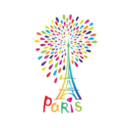 eifel: Paris sign. French famous landmark Eiffel tower. Travel France label. Paris architectural icon with lettering