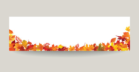 Fall leaf nature banner. Autumn leaves background. Season floral horizontal wallpaper Vectores
