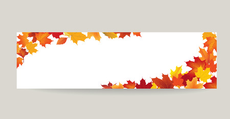 Fall leaf nature banner. Autumn leaves background. Season floral horizontal wallpaper Illustration