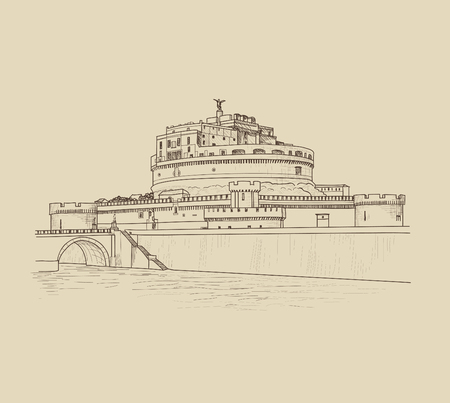 Rome cityscape with Castle Saint Angel. Italian city famous landmark skyline. Travel Italy engraving. Rome architectural city riverside background