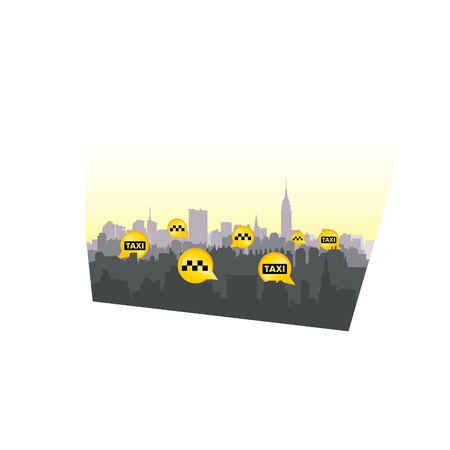 down town: Taxi service header. Taxi sign city background. Call taxi pointer cityscape concept