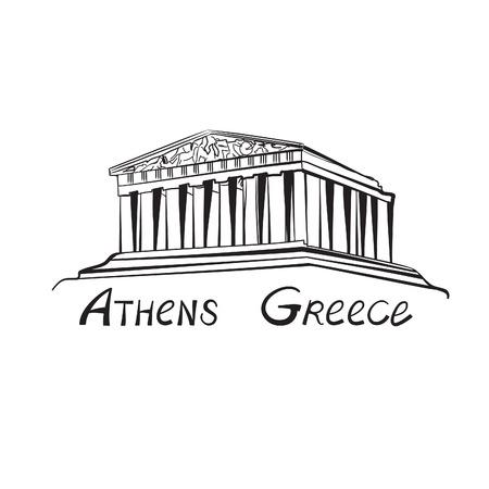 Viajar a Grecia que firme. edificio símbolo de la ciudad de Atenas con el dibujado a mano letras Atenas, Grecia. Ilustración de vector