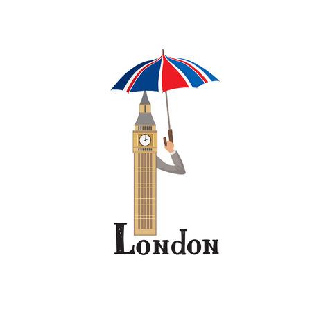 London sign hand lettering. British jack flag colored umbrella and Big Ben tower