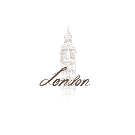 london england: London sign handwritten lettering with Big Ben tower.  London city Typography Graphics with famous building. Attraction of the capital of England, hand drawn vector illustration Illustration