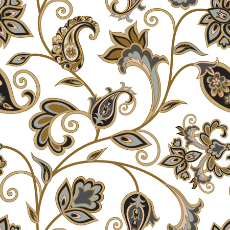 Flourish tiled pattern. Floral oriental ethnic background. Arabic ornament with fantastic flowers and leaves. Wonderland motives of the paintings of ancient Indian fabric patterns.