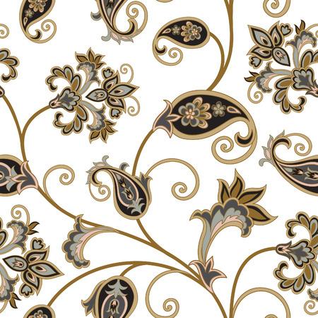 tile background: Floral pattern. Flourish oriental ethnic background. Arabic ornament with fantastic flowers and leaves. Wonderland swirl nature motives of stylish vintage fabric patterns. Illustration