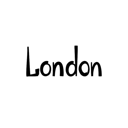 london england: London sign handwritten lettering. London city Typography Graphics. Attraction of the capital of England, hand drawn vector illustration